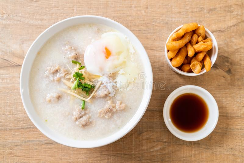 congee with minced pork in bowl royalty free stock photography