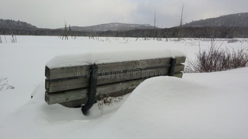 Congelé avec le banc photographie stock libre de droits