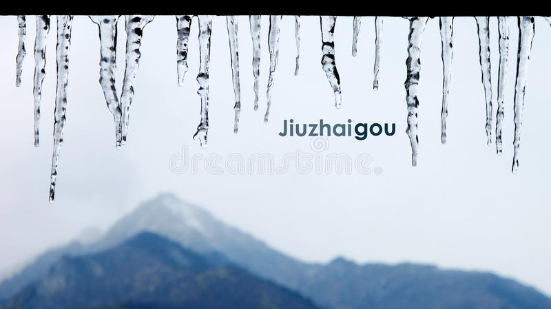 Congelé dans le jiuzhaigou photos libres de droits
