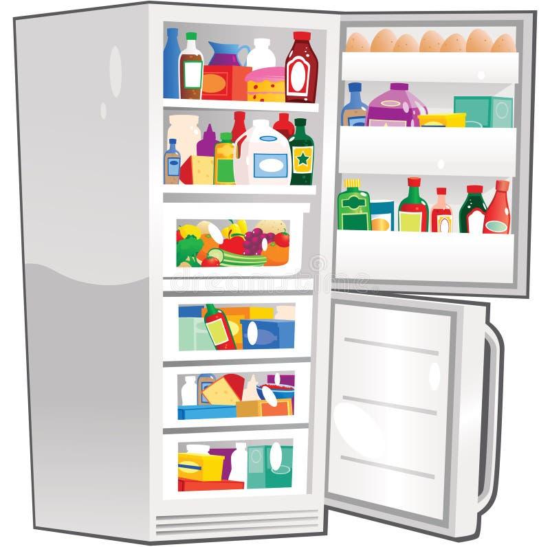 Congelador de refrigerador aberto ilustração royalty free