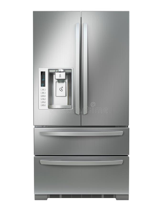 Congelador de refrigerador Refrigerador del acero de lado a lado inoxidable con ilustración del vector