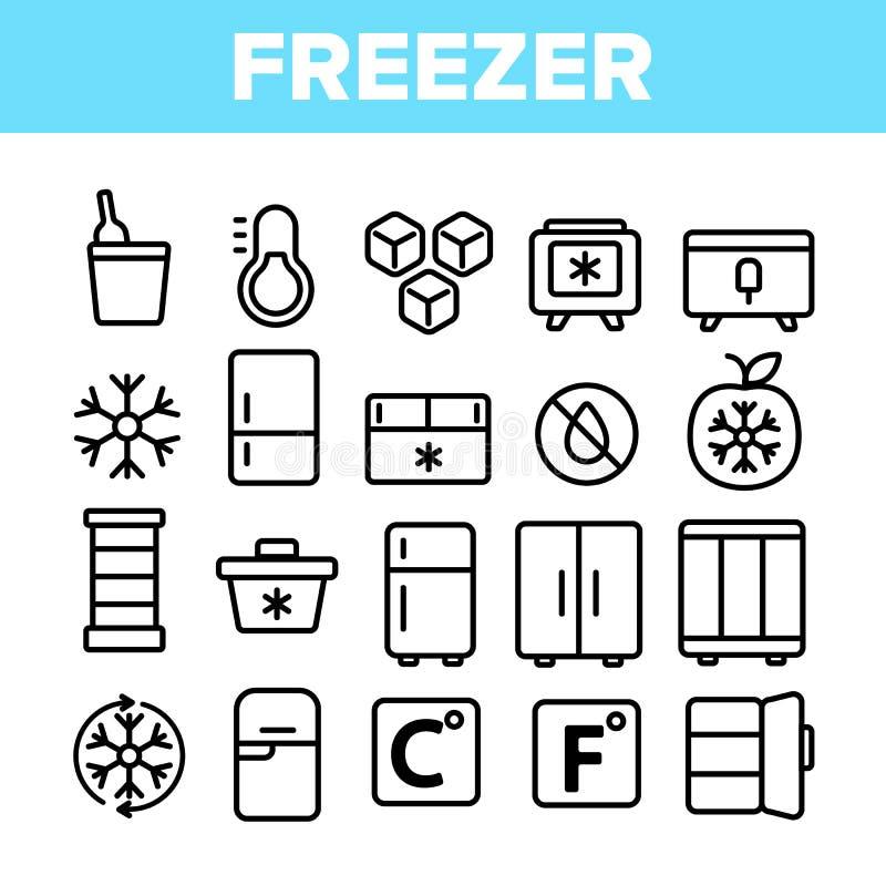 Congelador, grupo linear refrigerando dos ícones do vetor do dispositivo ilustração stock