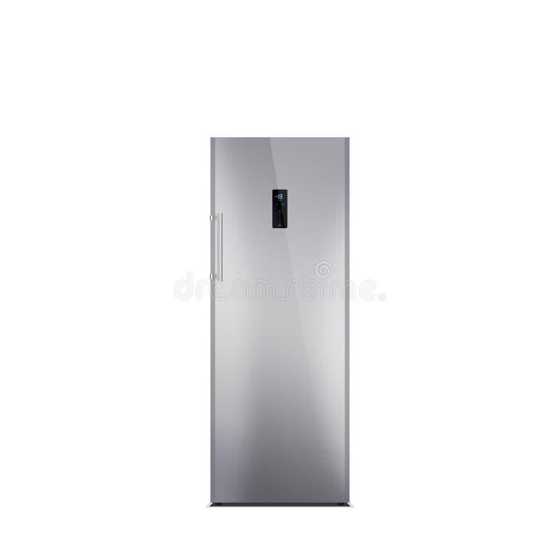 Congelatore d'acciaio brillante isolato su bianco illustrazione di stock