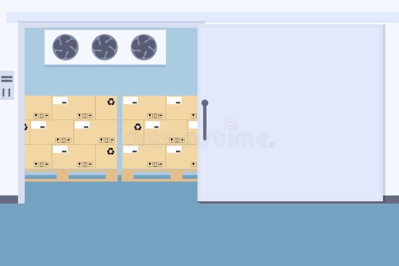 Congelatore del magazzino, conservazione frigorifera di imballaggio illustrazione di stock