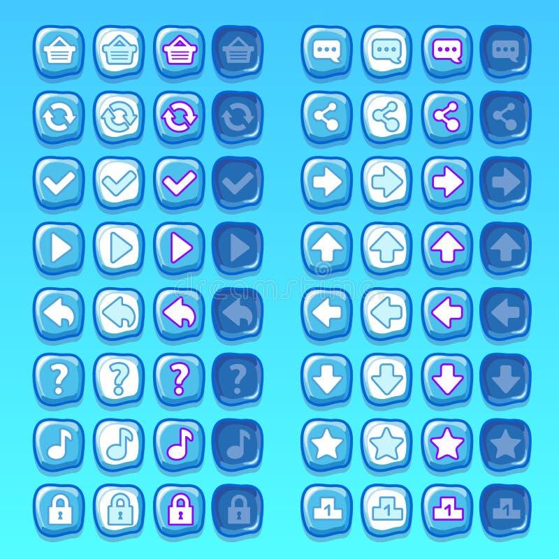 Congele ícones dos botões dos ícones do jogo, relação, ui ilustração do vetor