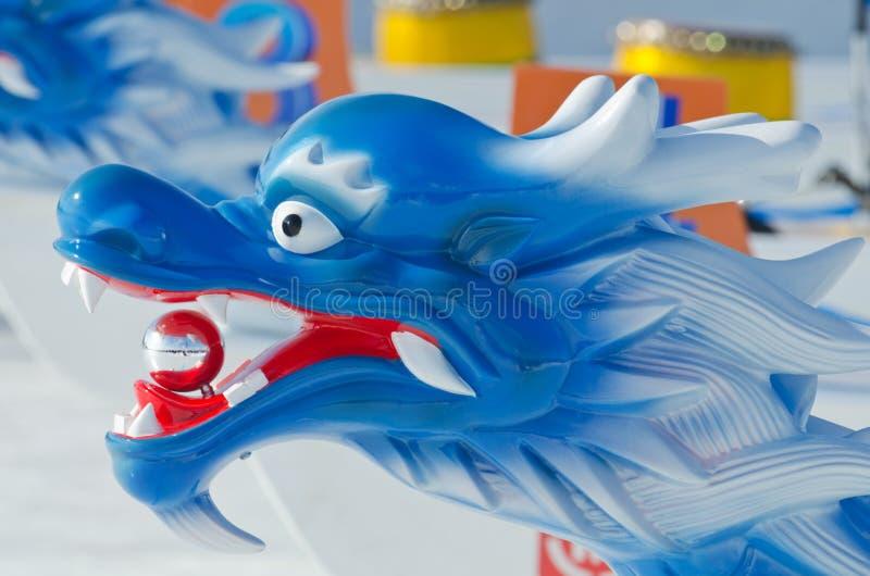 Congele Dragon Boat em Winterlude no lago do ` s do Dow imagem de stock royalty free