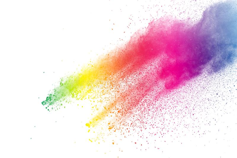 Congele o movimento das explosões coloridas do pó isoladas no fundo branco foto de stock