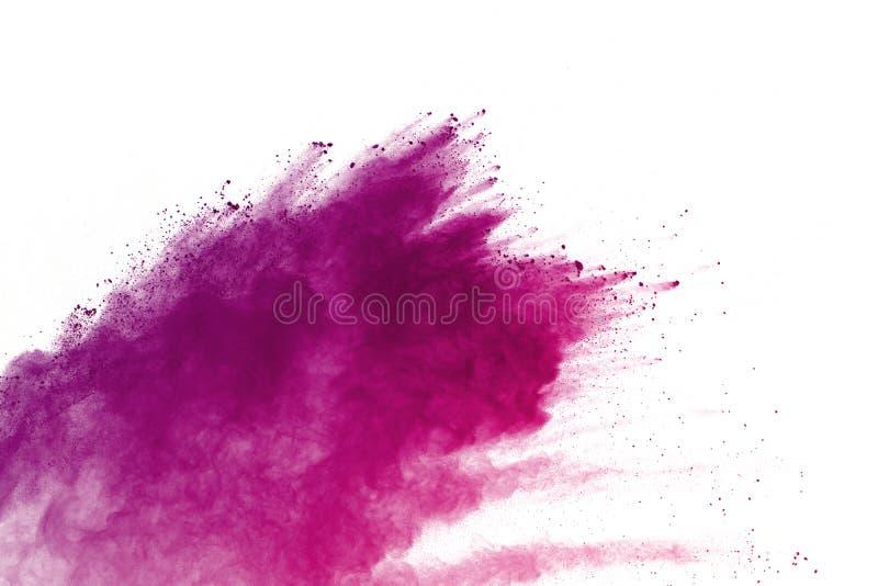 Congele o movimento das explosões coloridas do pó isoladas no fundo branco foto de stock royalty free