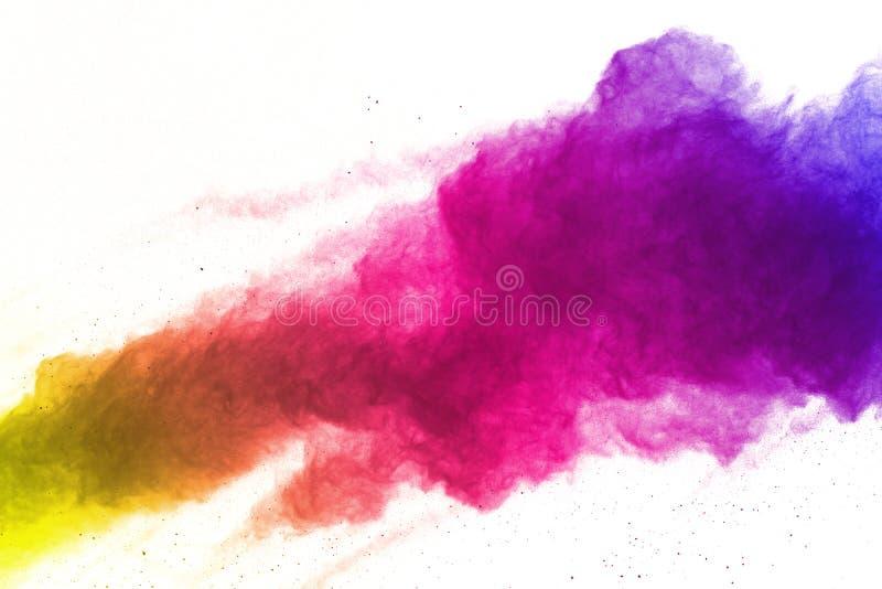 Congeli il moto delle esplosioni colorate della polvere isolate su fondo bianco illustrazione vettoriale