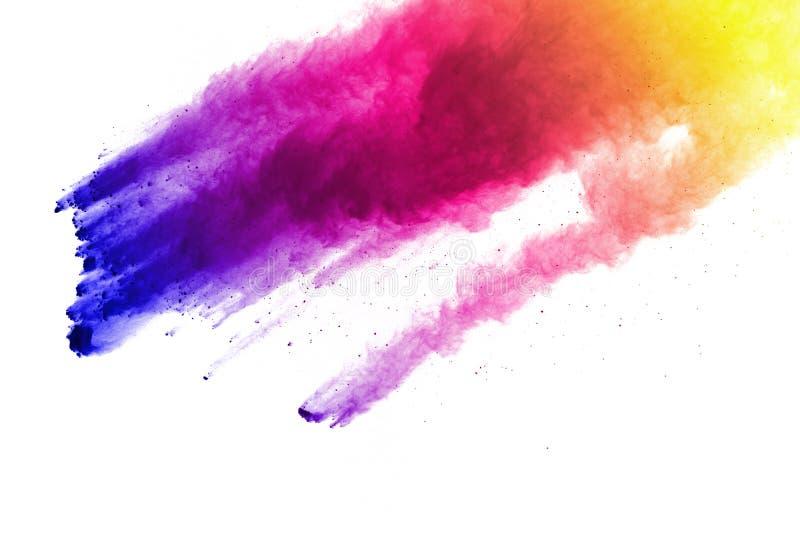 Congeli il moto delle esplosioni colorate della polvere isolate su fondo bianco illustrazione di stock