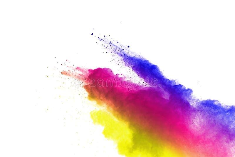 Congeli il moto delle esplosioni colorate della polvere isolate su fondo bianco royalty illustrazione gratis
