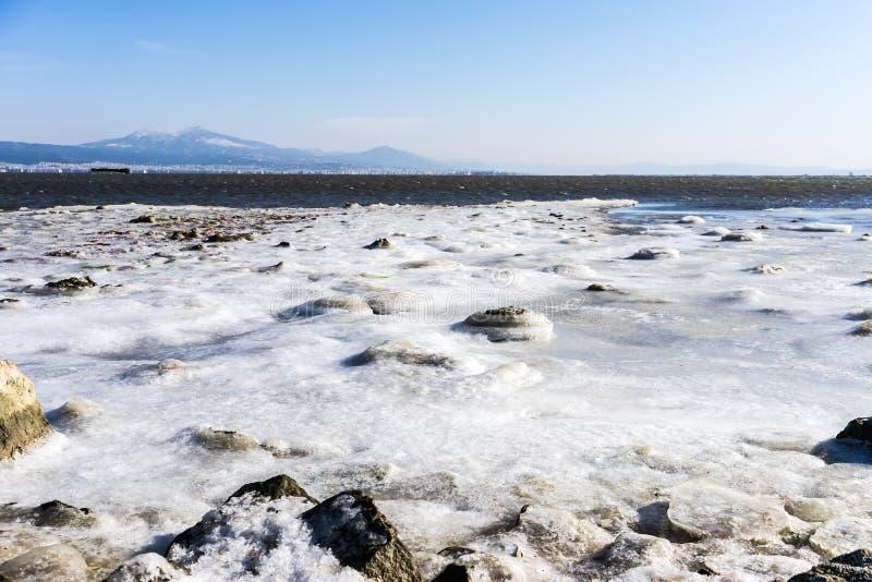 congelou a lagoa Kalochori em Grécia fotos de stock