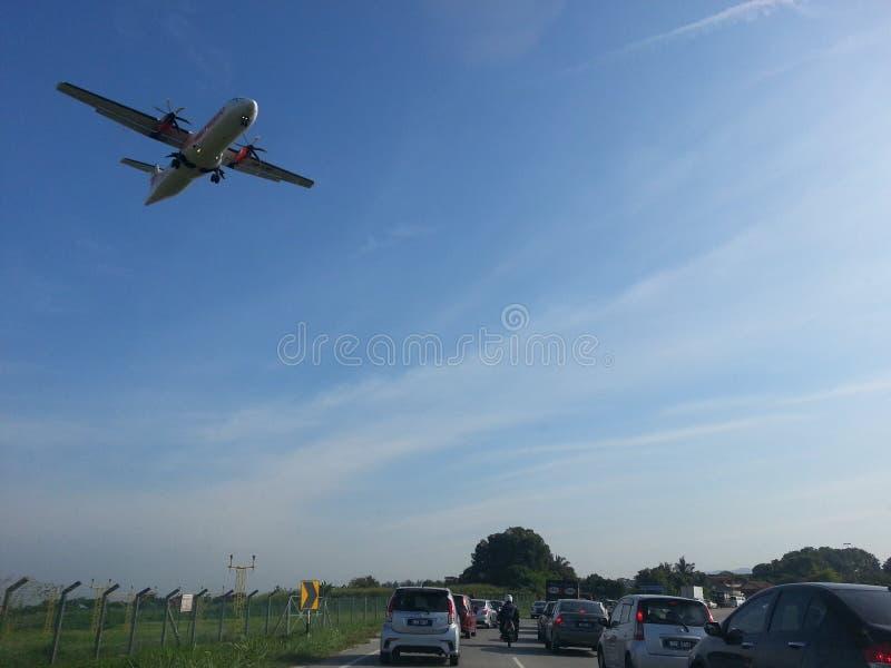 Congestión de tráfico de la mañana del vuelo de la llegada foto de archivo libre de regalías