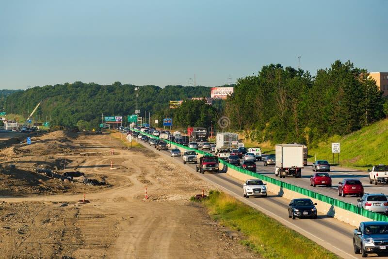 Congestion de travaux routiers image libre de droits