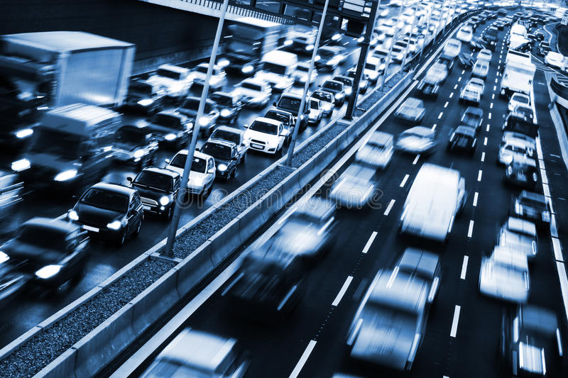 Congestion. On a higway on rush hour time royalty free stock image
