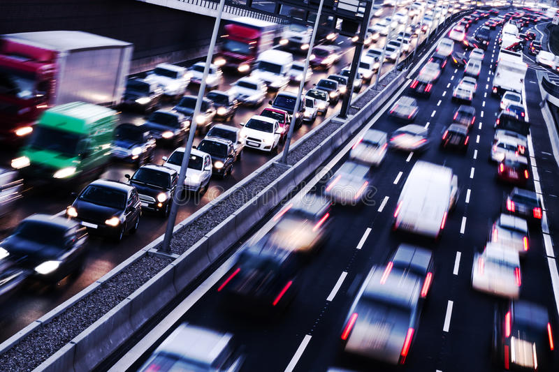 Congestion. On a higway on rush hour time stock image