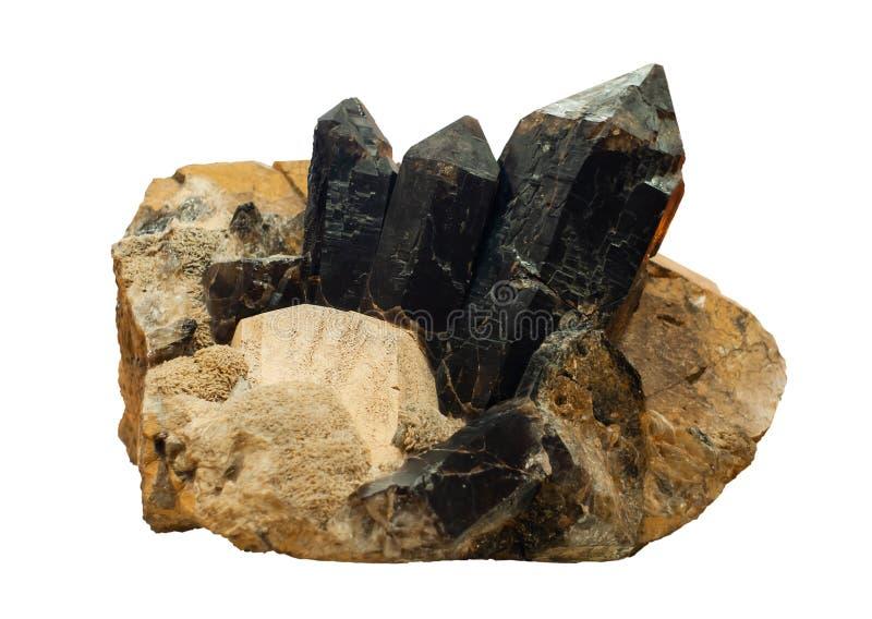 Conglomeraat van morion, veldspaat en micakristallen op witte achtergrond worden geïsoleerd die royalty-vrije stock afbeeldingen