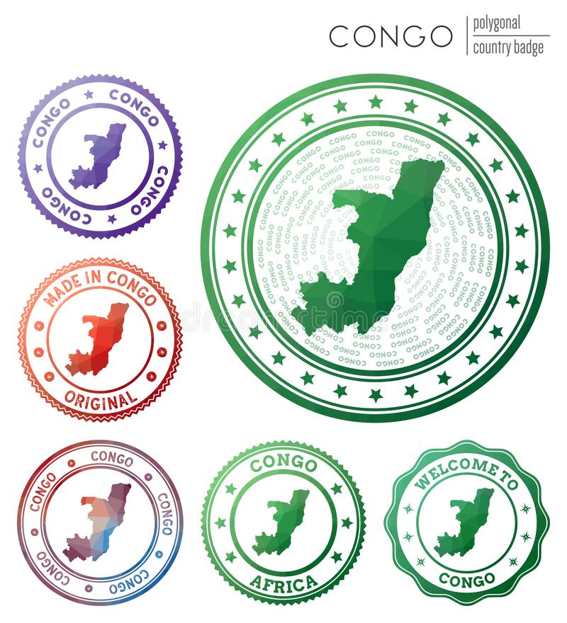DR Congo Geometric Polygonal Maps, Mosaic Style. Stock