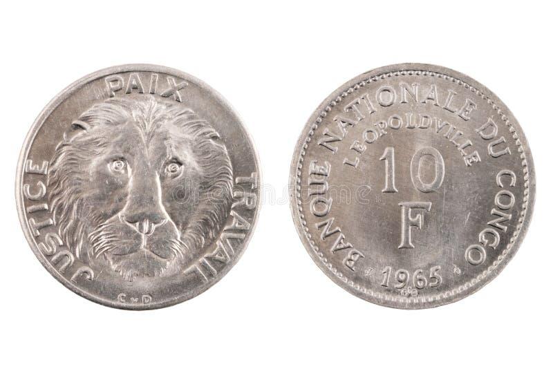 Congo Belga isolado 10 Franc Coin imagens de stock royalty free