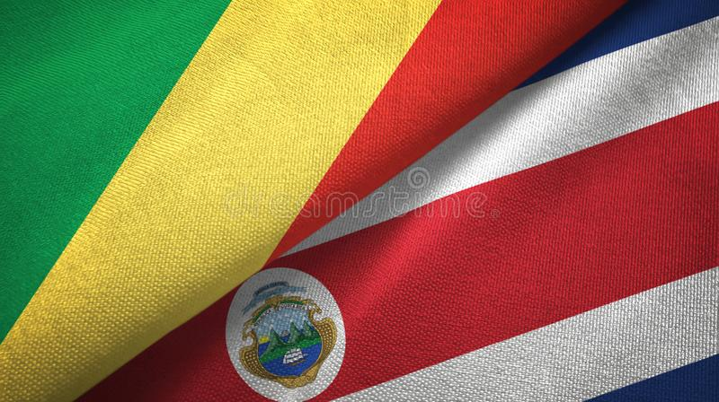 Congo and Costa Rica two flags textile cloth, fabric texture. Congo and Costa Rica flags together textile cloth, fabric texture stock illustration