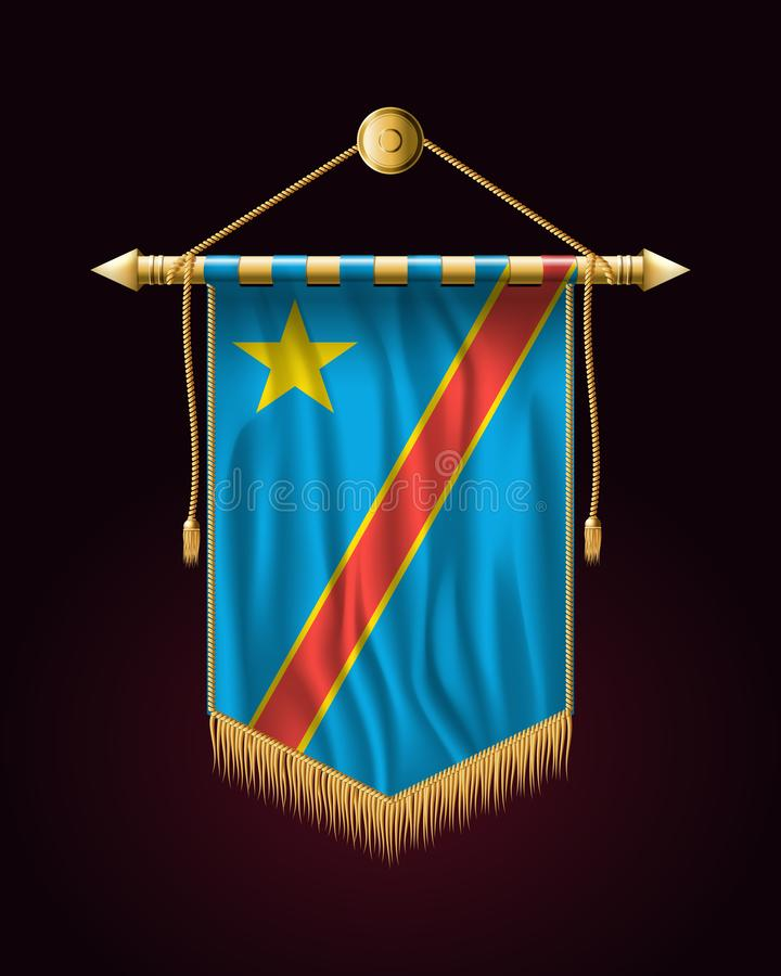 congo demokratisk flaggarepublik Festligt vertikalt baner V?gggobel?ng med den guld- tofsen vektor illustrationer