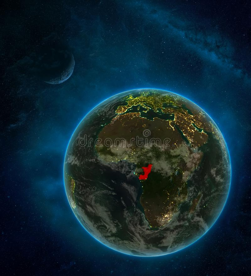 Congo from space on Earth at night surrounded by space with Moon and Milky Way. Detailed planet with city lights and clouds. 3D. Illustration. Elements of this vector illustration