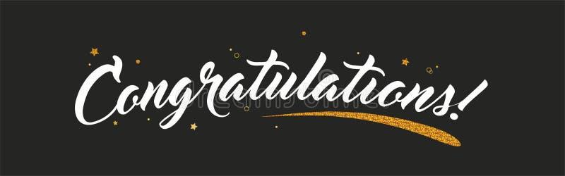 Congrats,与闪烁装饰的祝贺横幅 在黑暗的背景上写字的手写的现代刷子 向量 向量例证