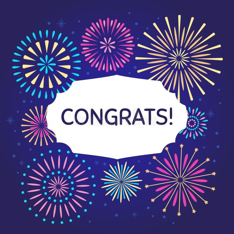 Congrats świętowania fajerwerku plakat Gratulacje fajerwerków wektorowy ilustracyjny tło royalty ilustracja