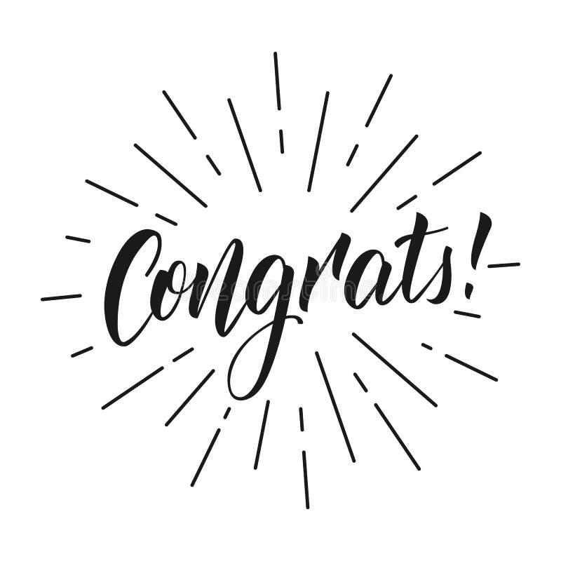 congrats Επιγραφή Congrats εγγραφής για τη ευχετήρια κάρτα ελεύθερη απεικόνιση δικαιώματος