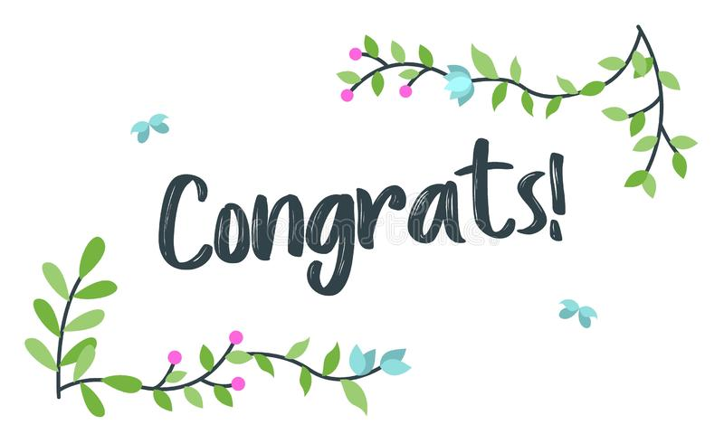Congrats, τυπογραφία συγχαρητηρίων με το Floral πλαίσιο, διάνυσμα για το χαιρετισμό διανυσματική απεικόνιση