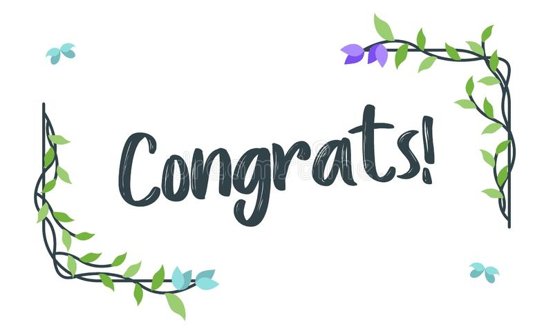 Congrats, τυπογραφία συγχαρητηρίων με το Floral πλαίσιο, διάνυσμα για το χαιρετισμό απεικόνιση αποθεμάτων