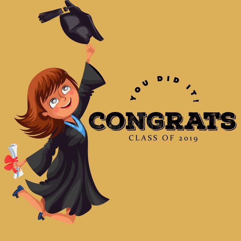 Congrats avläggande av examengrupp av plan färgrik affisch 2018 Hållande diplom för lycklig flickaföre detta elev i händer och ba royaltyfri illustrationer