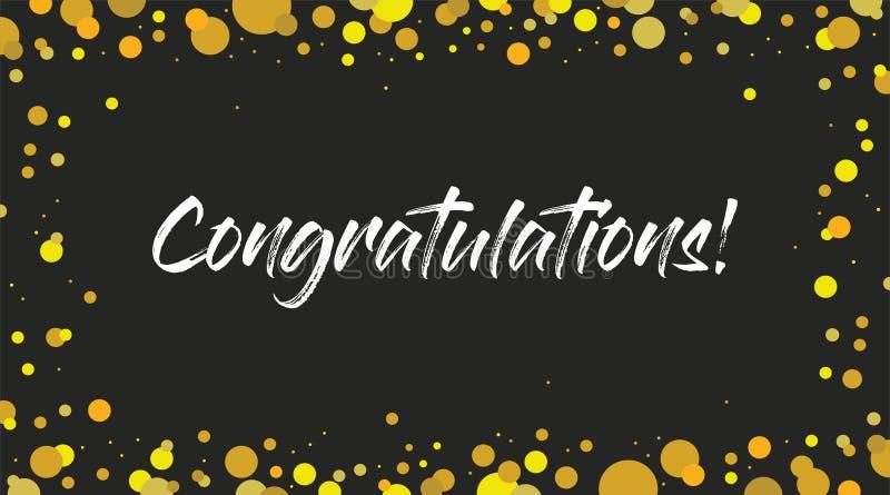 Congrats, bandeira das felicitações A escova moderna escrita à mão que rotula o fundo escuro isolou o vetor ilustração stock