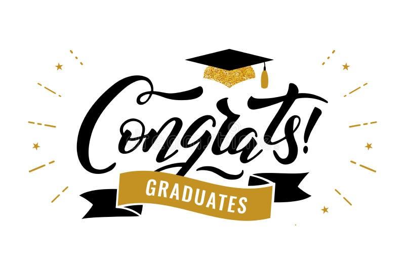 Congrats behaalt klasse van de partij van de de graduatiegelukwens van 2019 een diploma royalty-vrije illustratie