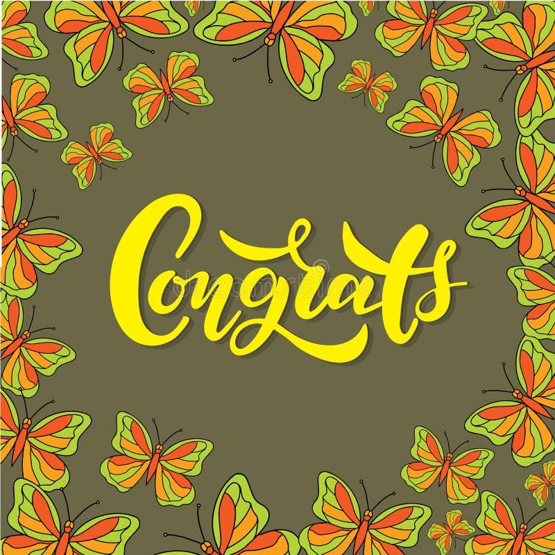 Congrats bokstäver Handskriven modern kalligrafi, borste målade bokstäver stock illustrationer