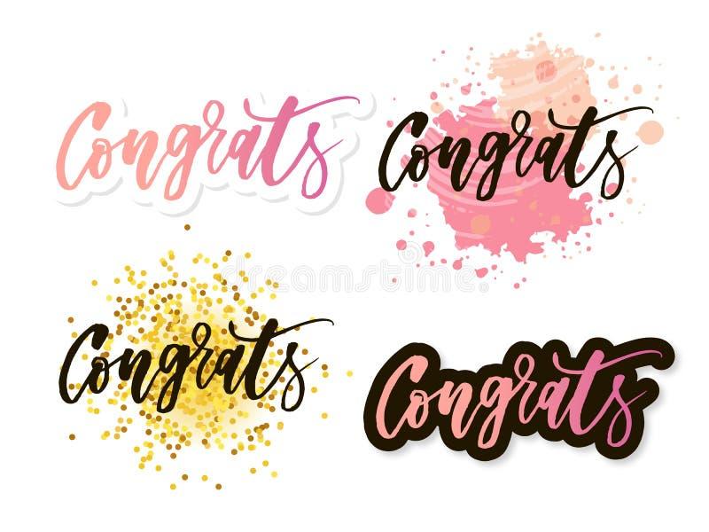Congrats bokstäver Handskriven modern kalligrafi, borste målade bokstäver Inspirerande text, vektorillustration Mall för royaltyfri illustrationer