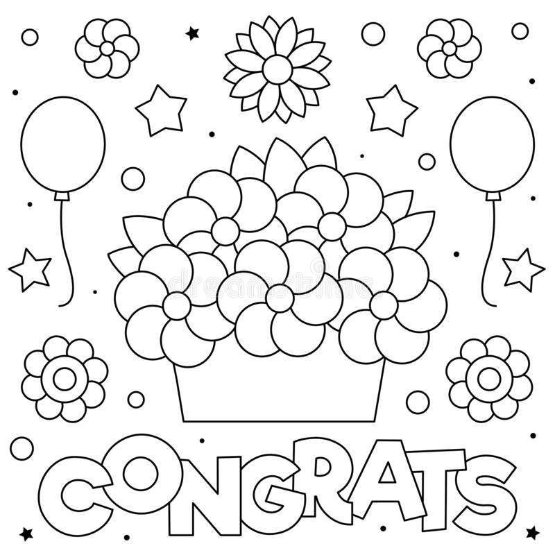 Congrats. Coloring page. Black and white vector illustration. royalty free stock photo