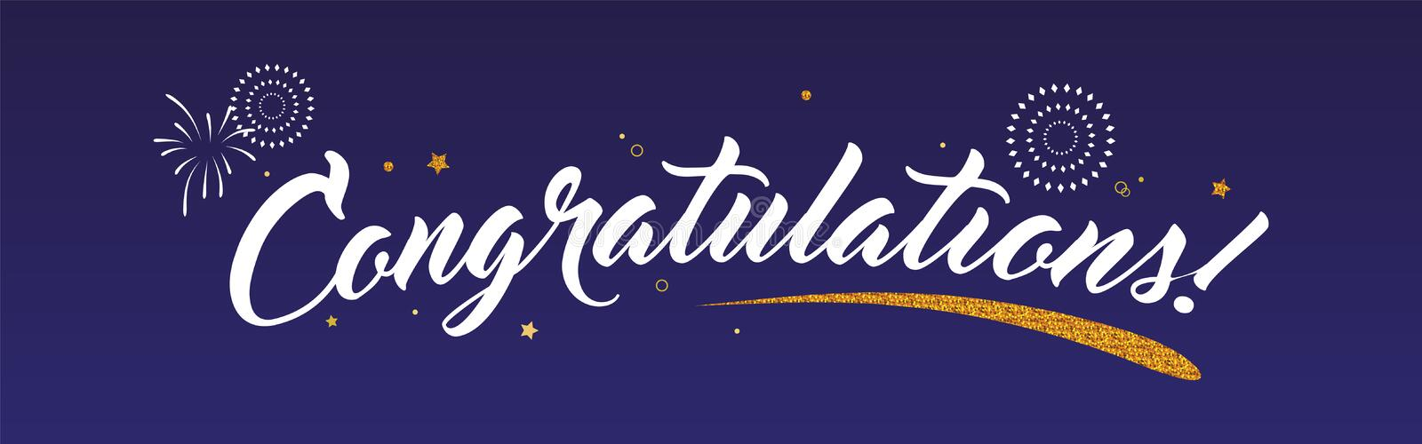 Congrats, Congratulations banner with glitter decoration and fireworks. Handwritten modern brush lettering dark. Background isolated vector card stock illustration