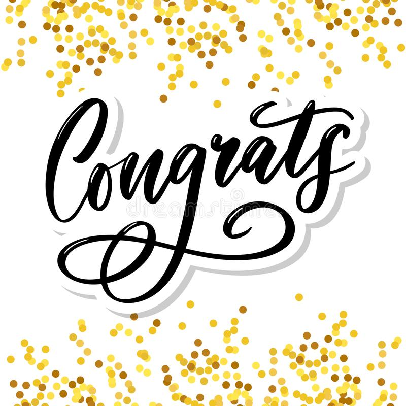 Free Congrats Congratulations Card Lettering Calligraphy Text Brush Royalty Free Stock Photo - 165712765