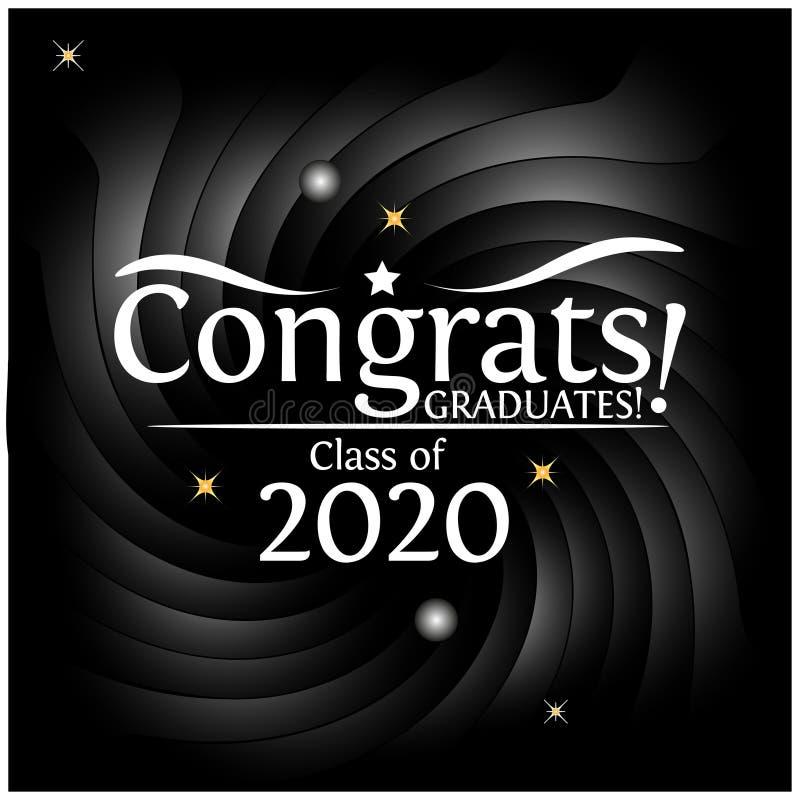 Congrats em uma classe da graduação de 2020 no fundo preto ilustração stock