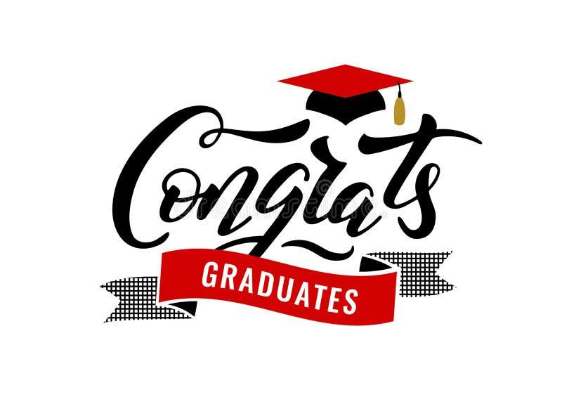 Congrats gradua uma classe do partido 2019 das felicitações da graduação ilustração royalty free