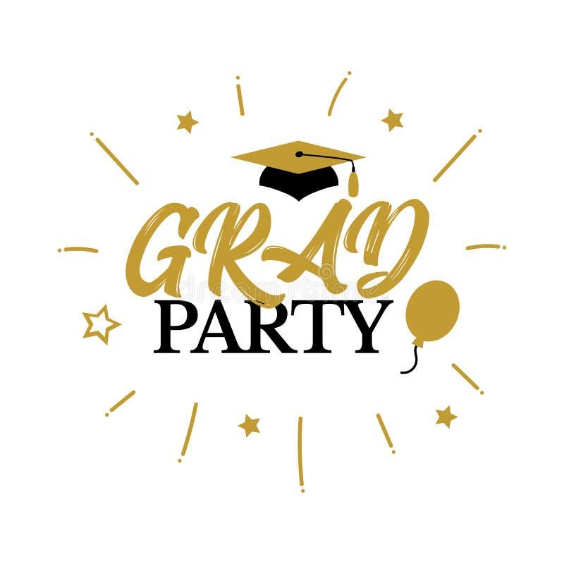 Congrats gradua uma classe do partido 2019 das felicitações da graduação ilustração stock