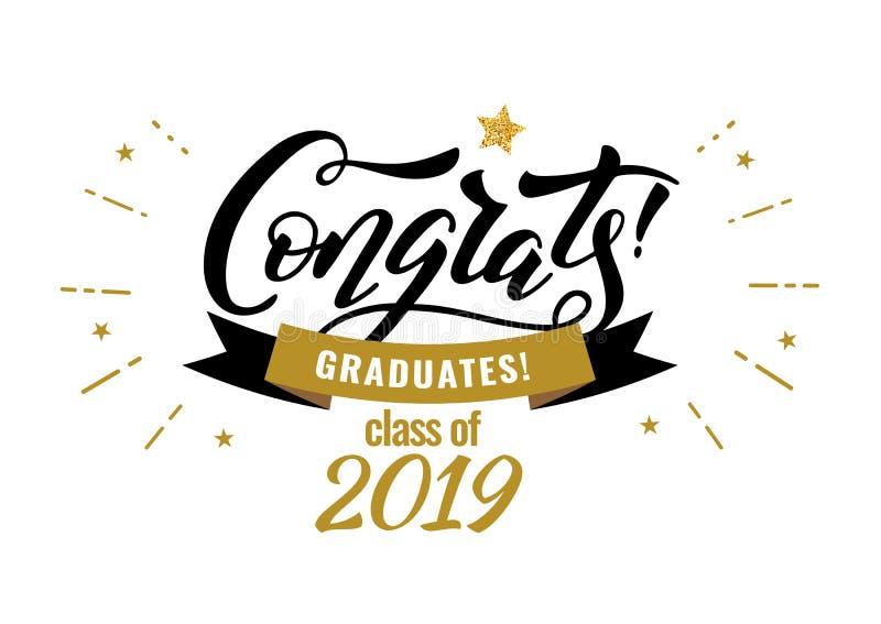 Congrats gradua uma classe do partido 2019 das felicitações da graduação ilustração do vetor