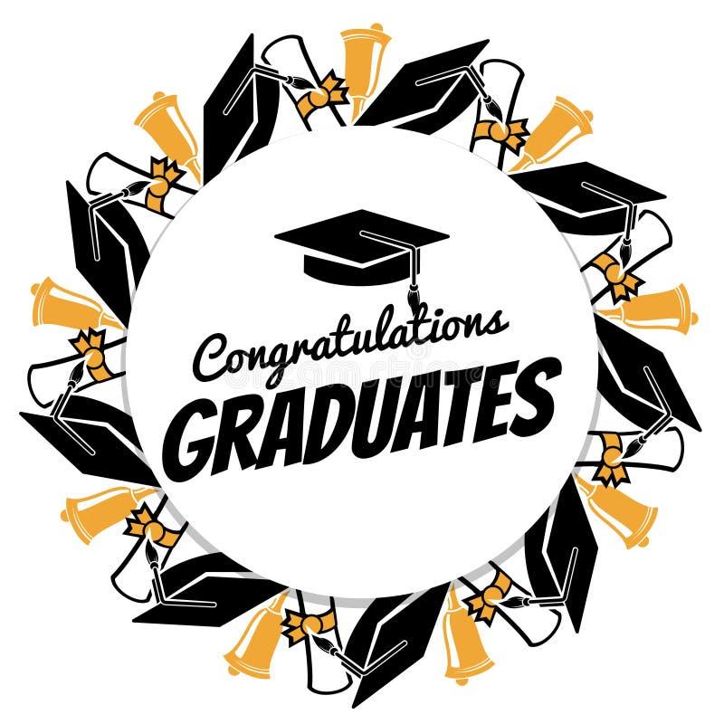 Congrats graduates round banner with students accessorises stock illustration