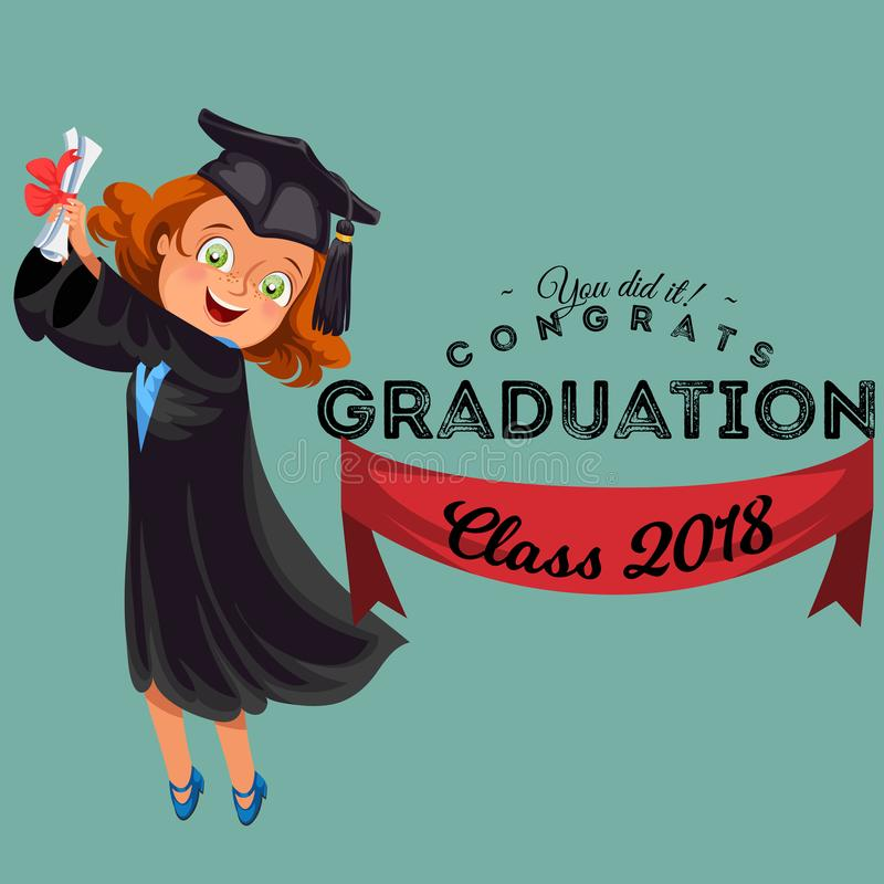 Congrats graduation class of 2018 flat colorful poster. Happy girl alumnus holding diploma in hands and jumping for joy royalty free illustration