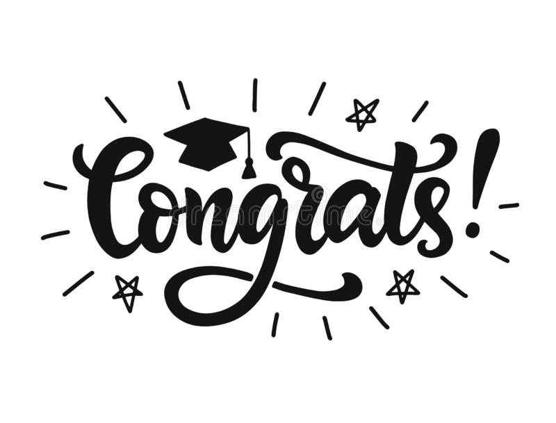 Congrats! Graduation class label, banner. Hand drawn vector lettering royalty free illustration