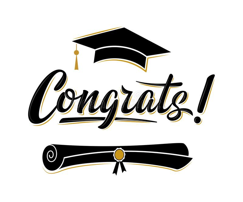 Congrats! greeting sign for graduation party. Class of 2020. Academic cap and diploma. Vector design for congratulation ceremony, invitation card, banner