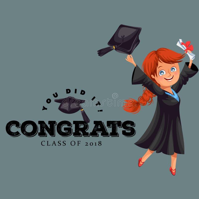 Congrats grupp av plan färgrik affisch 2018 Lycklig le flicka i kappa med diplomet som kastar lockvektorillustrationen stock illustrationer