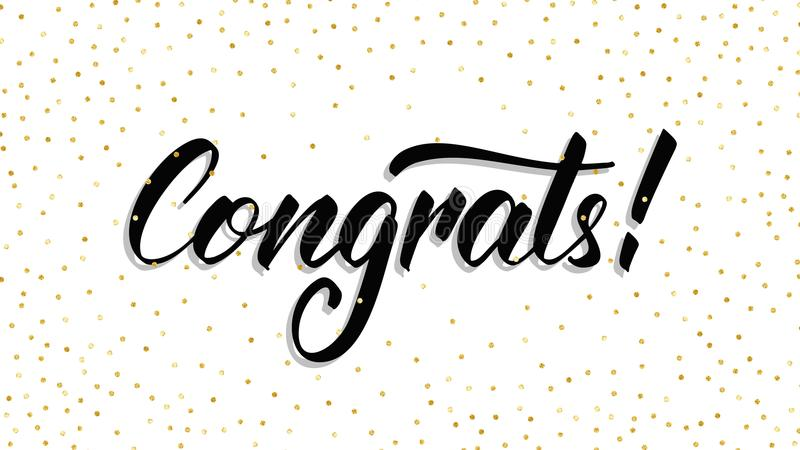 congrats Congrats handlettering moderno com confetes do às bolinhas Molde do cartão ilustração royalty free