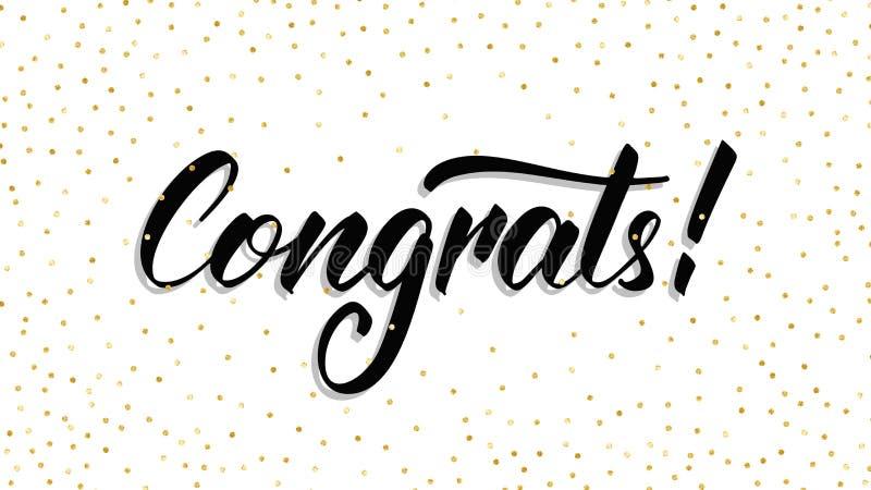 congrats Het moderne handlettering Congrats met stipconfettien De kaartmalplaatje van de groet royalty-vrije illustratie